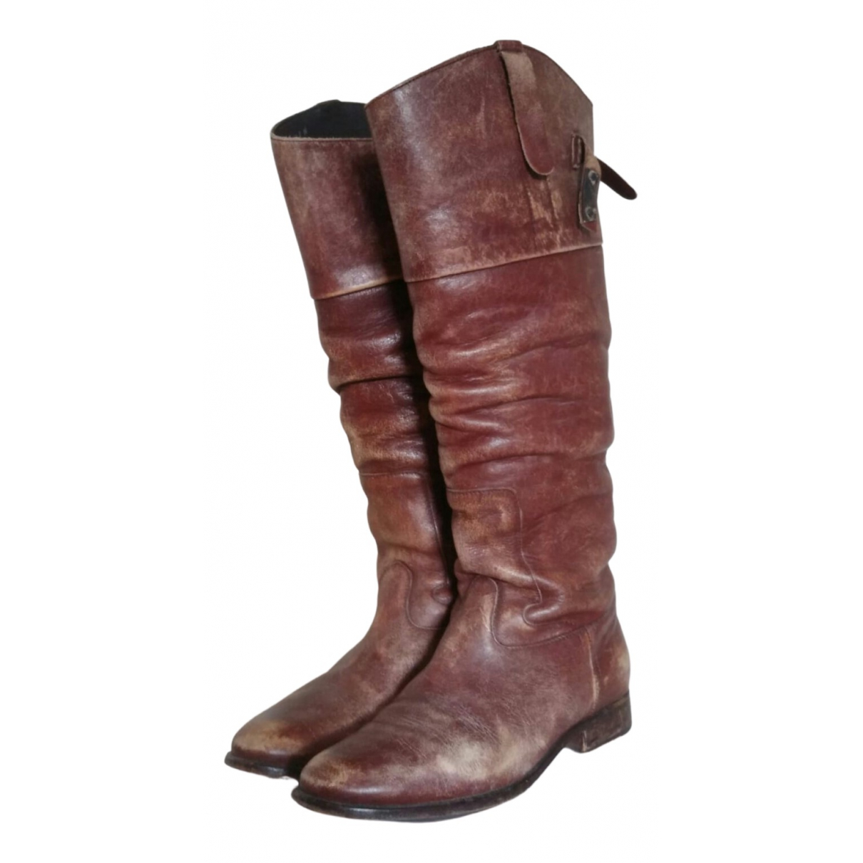 Golden Goose N Brown Leather Boots for Women 38 EU
