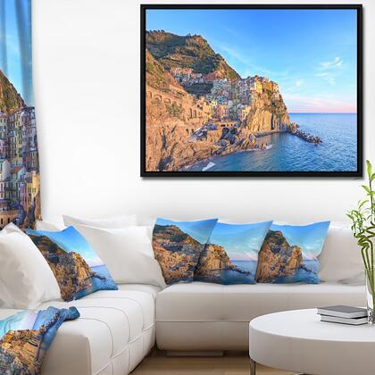 FL11387-42-32-FLB Manarola Village Cinque Terre Italy - Extra Large Seashore Framed Canvas Art -