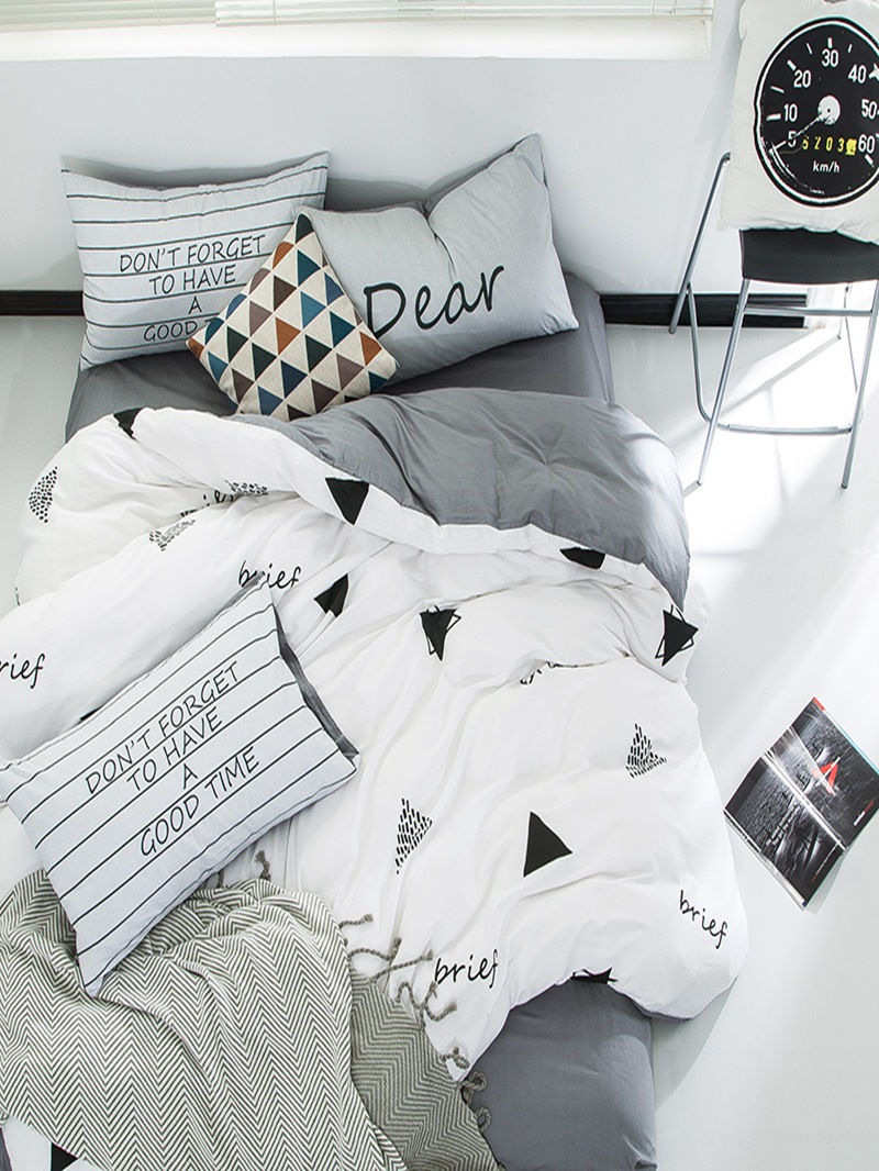 Vivilinen Nordic Style Triangles Printed Cotton White Kids Duvet Covers/Bedding Sets