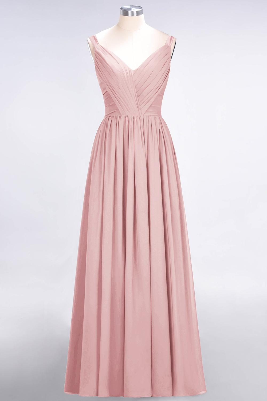BMbridal Chic V-Neck Straps Ruffle Burgundy Bridesmaid Dresses with Bow Sash