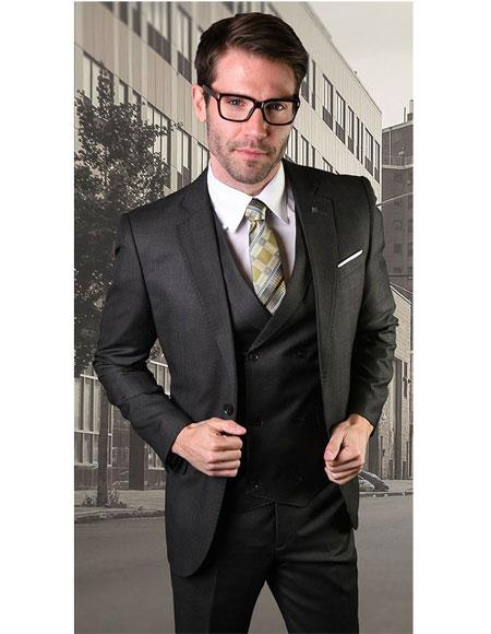 Mens Single Breasted Two Button Notch Lapel Black Suit