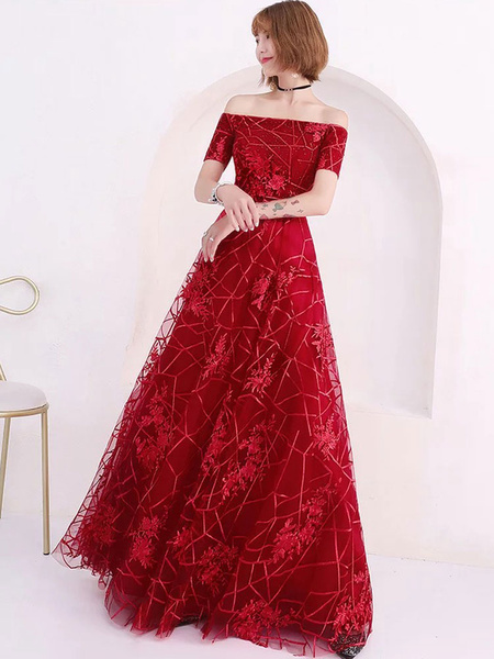 Milanoo Burgundy Evening Dresses Lace Off Shoulder Prom Dress Floor Length Formal Gowns
