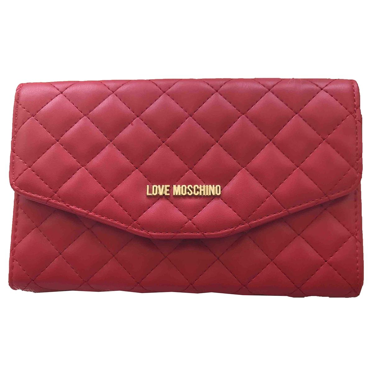 Moschino Love - Pochette   pour femme en cuir - rouge
