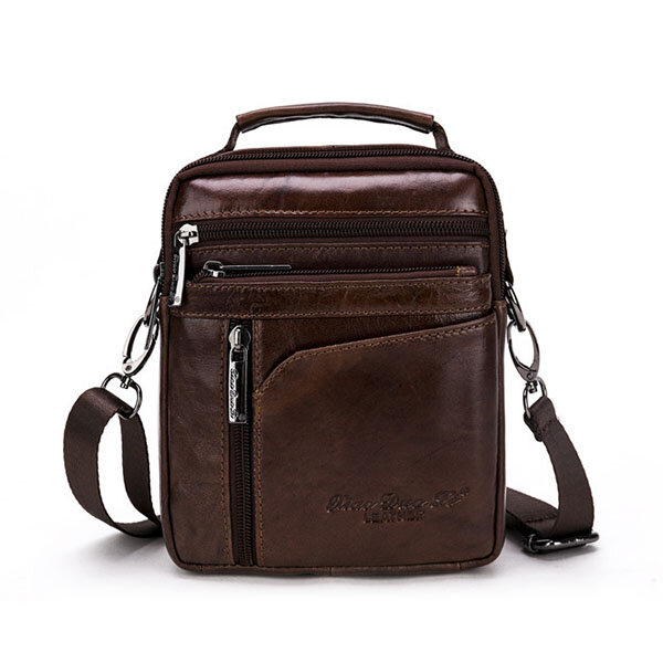 Genuine Leather Mini Shoulder Bag Multi-functional Vintage Casual Crossbody Bag For Men