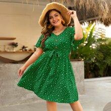 Kleid mit Dalmatiner Muster und Guertel