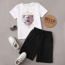 Top mit Grafik Muster & Shorts Set