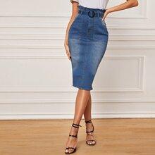 Paperbag Waist Buckle Belted Denim Pencil Skirt