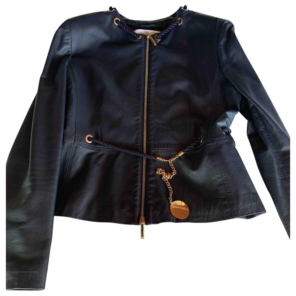 Elisabetta Franchi \N Blue Leather jacket for Women 48 IT