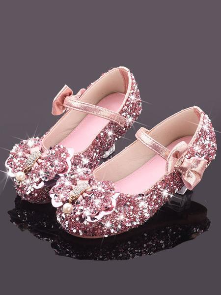 Milanoo Zapatos para niña de flores Arcos de tela con lentejuelas plateados Zapatos para niños de fiesta para bodas