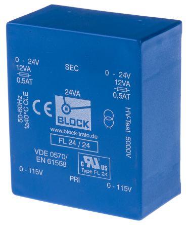 Block 24V ac 2 Output Through Hole PCB Transformer, 24VA