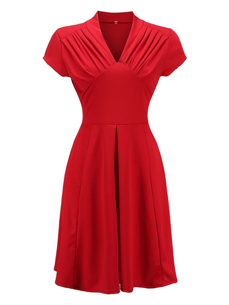 Milanoo Red Vintage Dress 1950s Short Sleeve Ruched V Neck Women Swing Dress