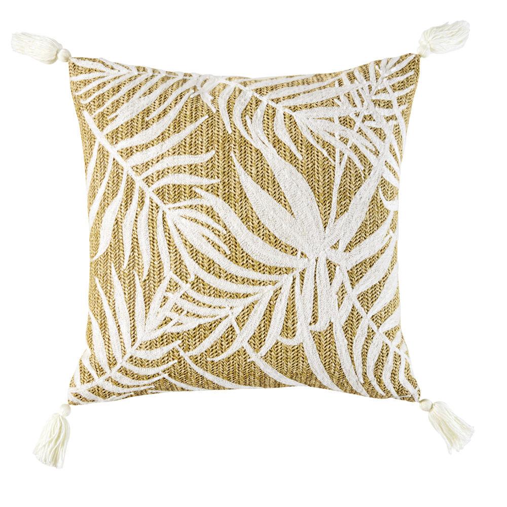 Gewebtes Kissen mit weissen Laubwerk-Motiven 45x45