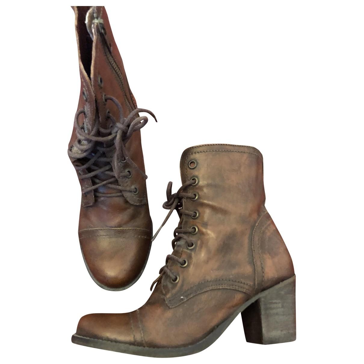 Steve Madden - Boots   pour femme en cuir - marron