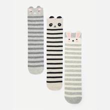 Maedchen Wadenlaenge Socken mit Streifen 3 Paare