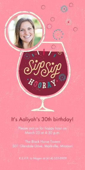 Birthday Party Invites 4x8 Flat Card Set, 85lb, Card & Stationery -Sip Sip Hooray