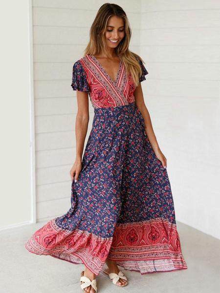 Milanoo Boho Maxi Dress Floral Print Summer Dress Split Short Sleeve V Neck Wrap Dress
