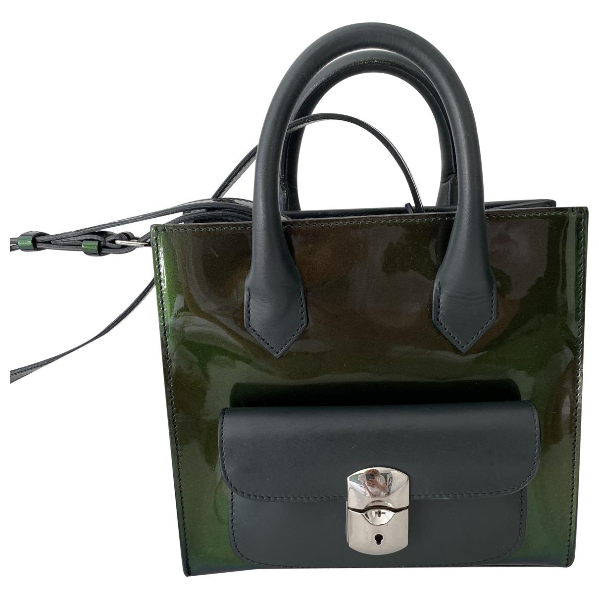 Balenciaga Padlock Handtasche in  Gruen Lackleder