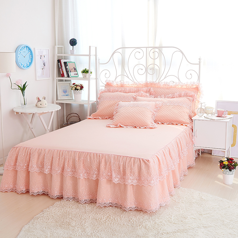 Princess Style Light Pink High-end Embroidery Cotton Bed Skirt