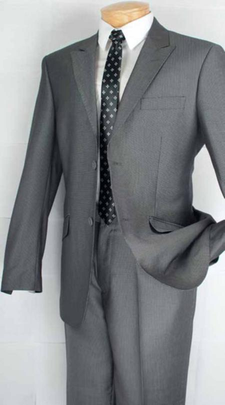 Single Breasted 2 Button Peak Lapel Suit Grey