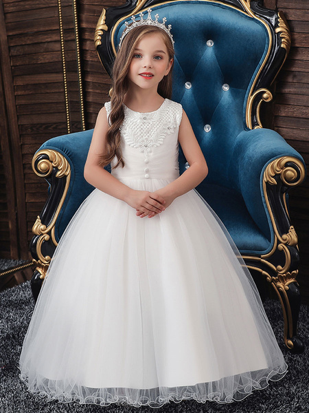 Milanoo Flower Girl Dresses Jewel Neck Polyester Cotton Sleeveless Ankle Length Princess Silhouette Beaded Kids Party Dresses