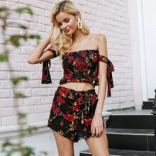 Flower Print Shirred Knotted Top & Shorts Set