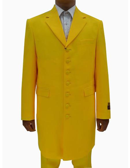 Mens Yellow  Seven Button Zoot Suits