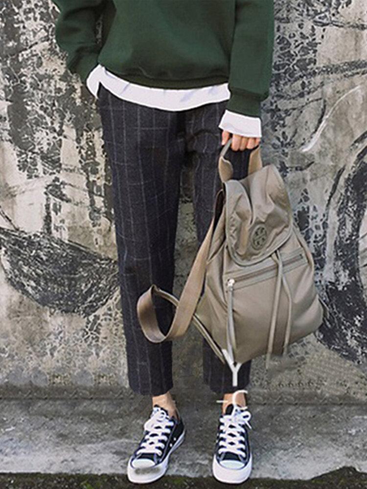 Plaid Loose Elastic Waist Plus Size Pants with Pockets