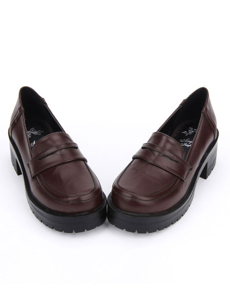 Milanoo Sweet Lolita Shoes Deep Brown Platform Chunky Heel Lolita Pumps