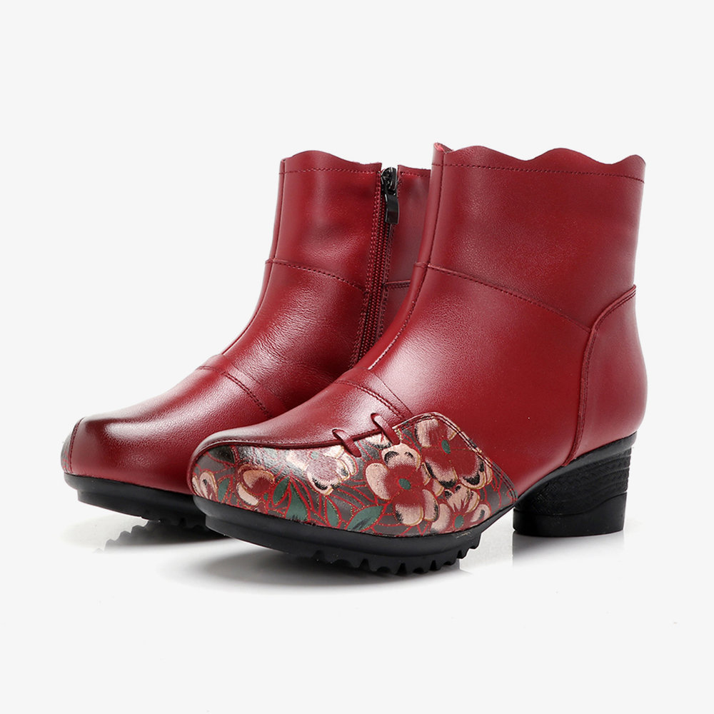 Genuine Leather Splicing Printing Low Heel Ankle Casual Boots