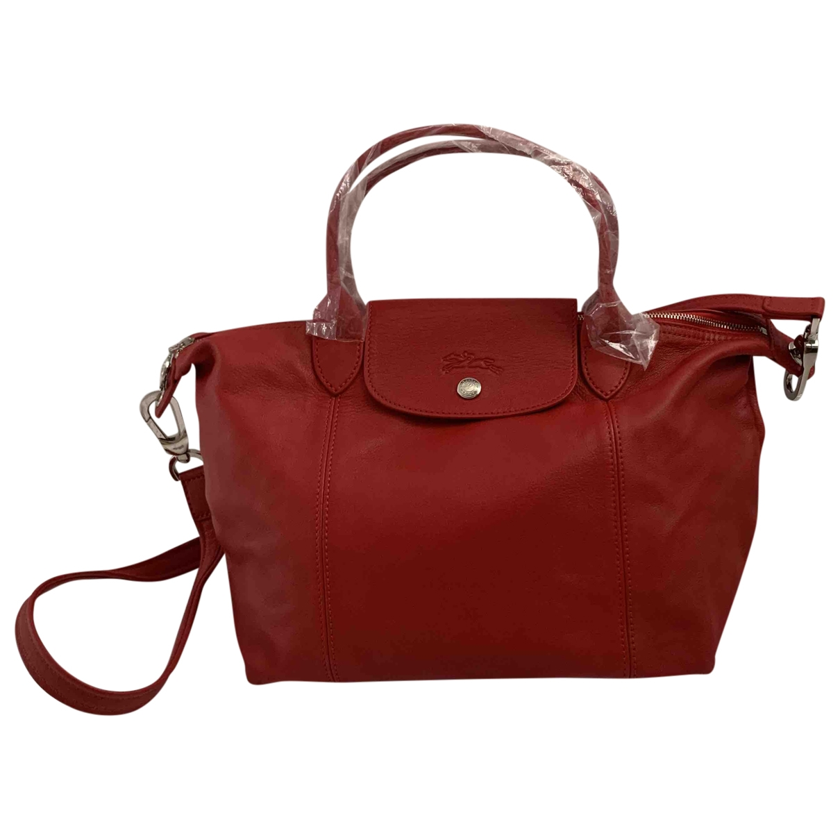 Longchamp Pliage  Red Leather handbag for Women \N