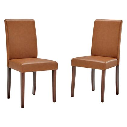 Prosper Collection EEI-3617-TAN Faux Leather Dining Side Chair Set of 2 in Tan
