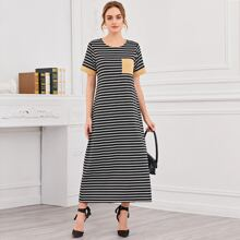 Patched Pocket Striped Dress