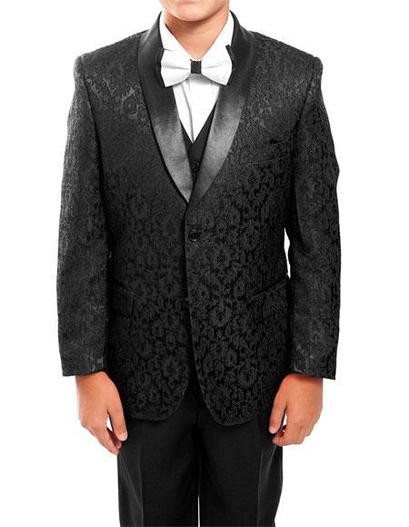 Kids ~ Children ~ Boys Toddler Tuxedo Black Vested Suit