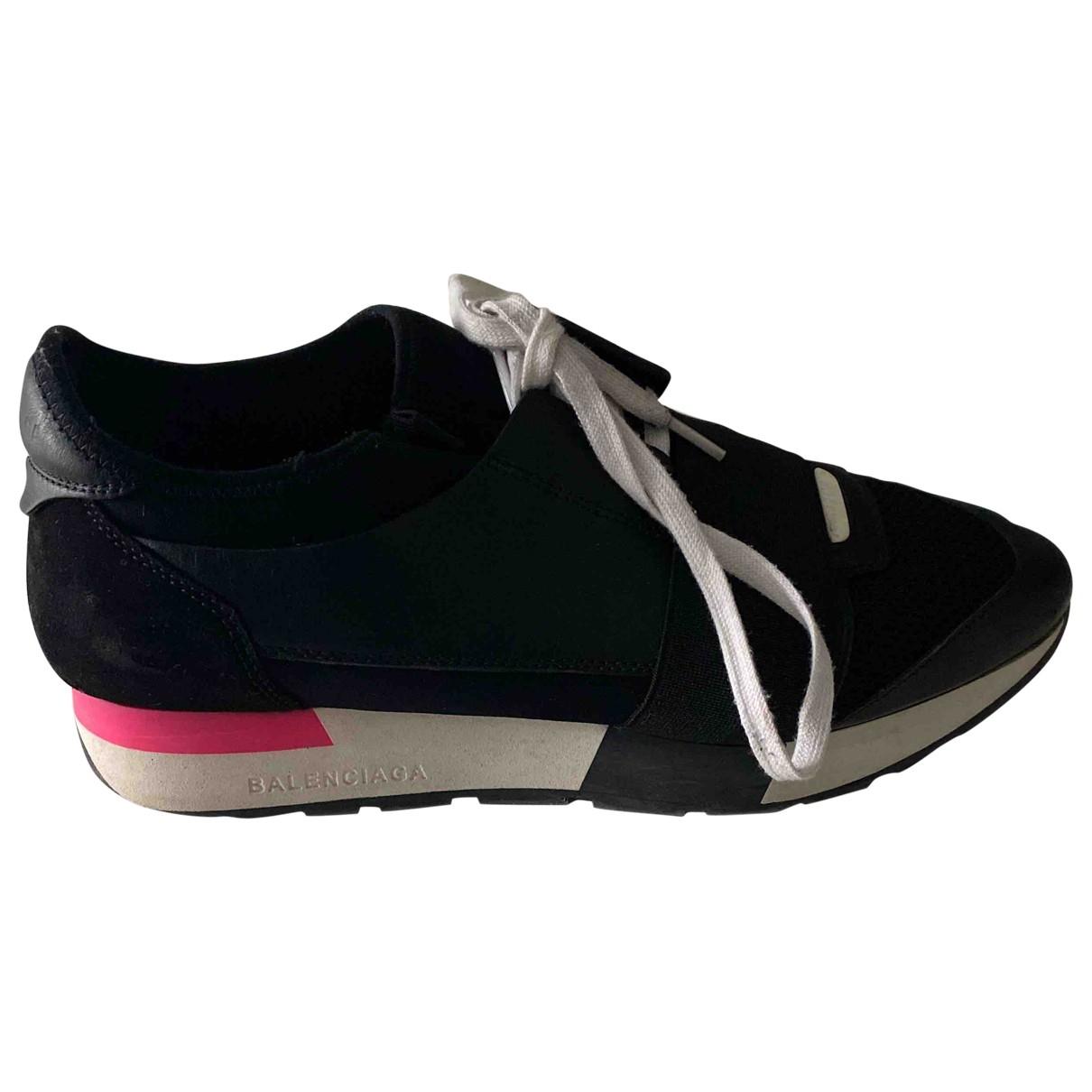 Balenciaga Race Sneakers in  Schwarz Leder