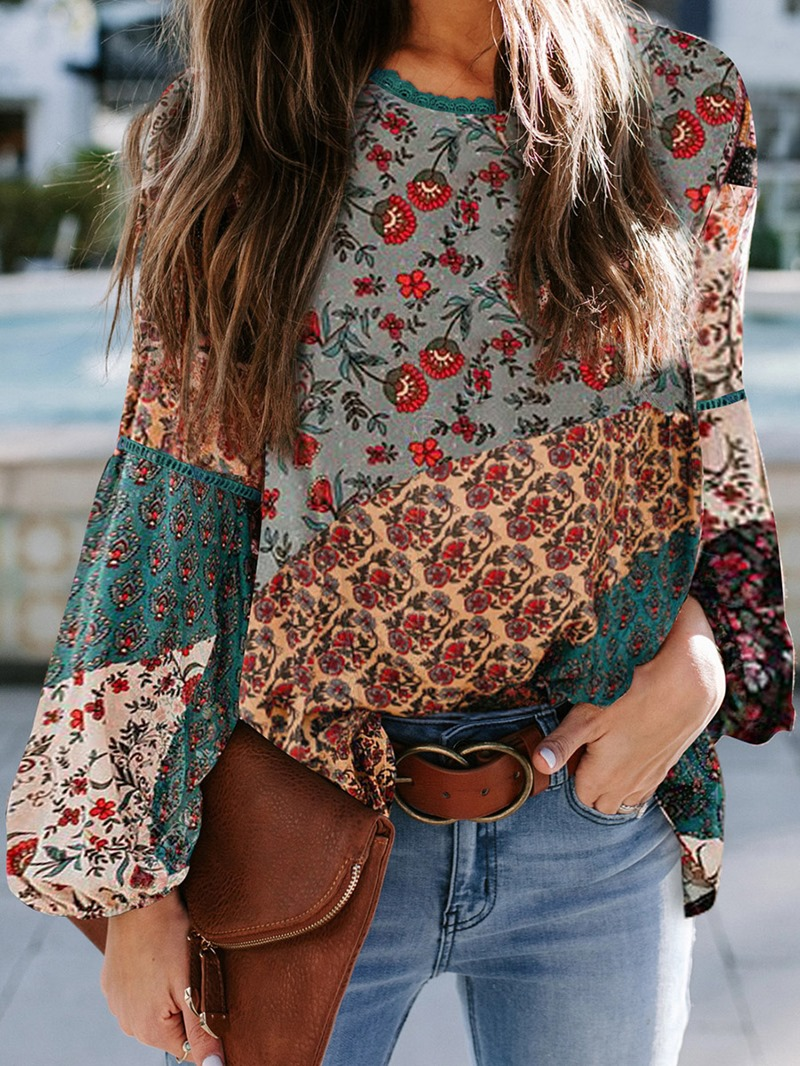 Ericdress Floral Lantern Sleeve Round Neck Standard Long Sleeve Blouse