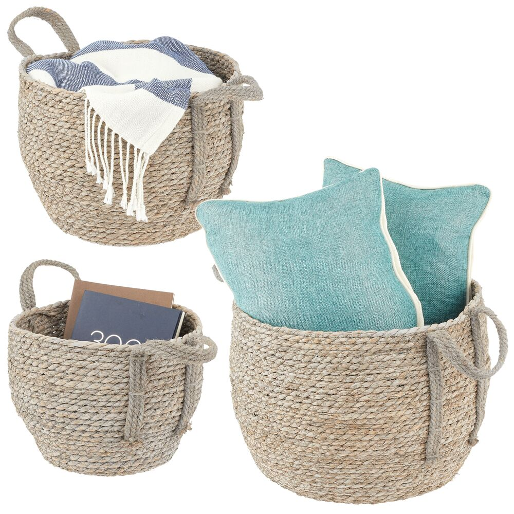 Natural Woven Seagrass Storage Round Baskets - Pack of in Gray, by mDesign