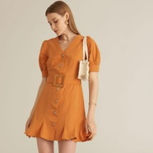 PREMIUM Button Front Buckle Belted Dress