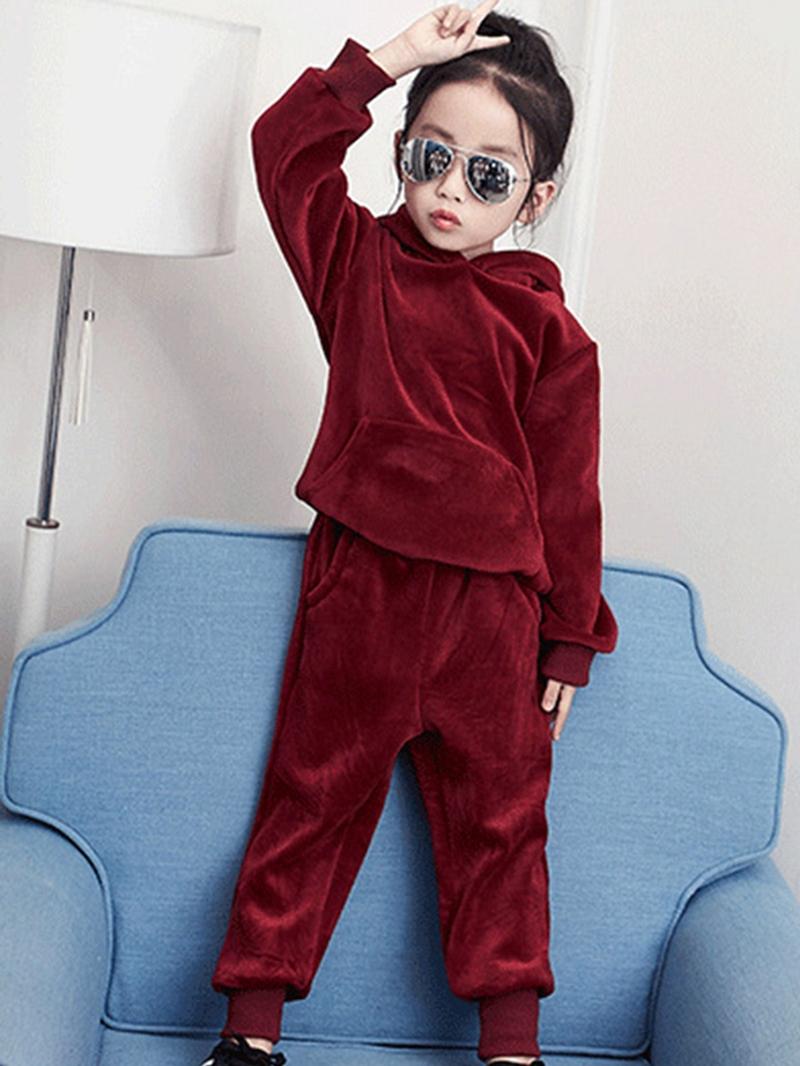 Ericdress Velvet Thick Winter Girl's 2-Pcs Outfit