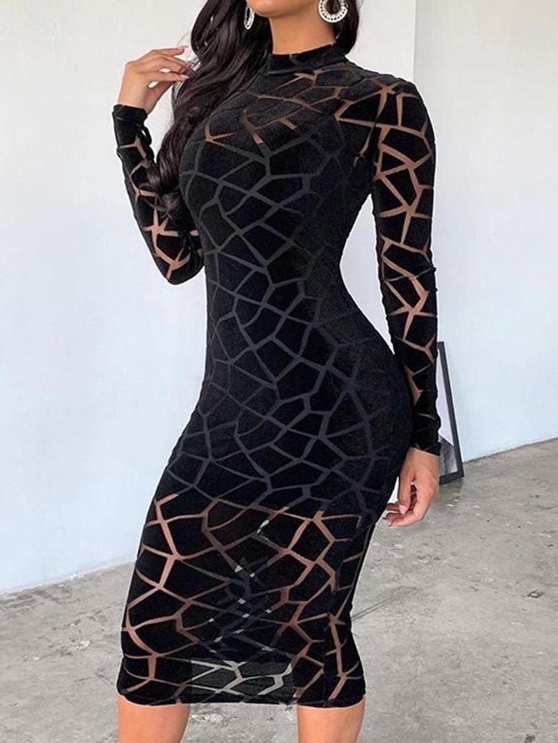 Ericdress Mid-Calf Stand Collar Long Sleeve Casual Pullover Women's Dress