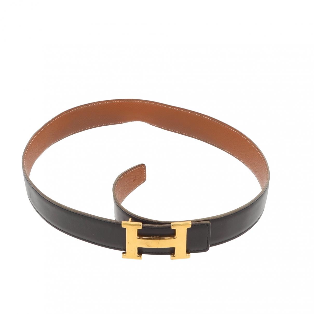 Hermès H Black Leather belt for Women 75 cm
