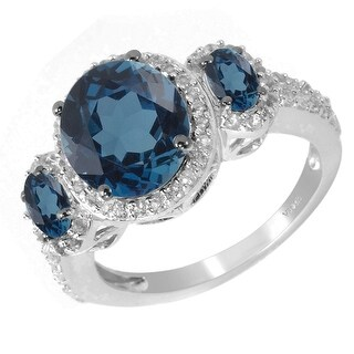 Sterling Silver with London Blue Topaz & White Topaz Three stone Ring (9)