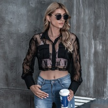 Flap Pocket Front Lace Blouse Without Bra