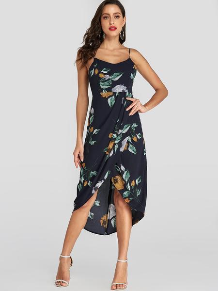 YOINS Navy Random Floral Print Irregular Hem Midi Dress