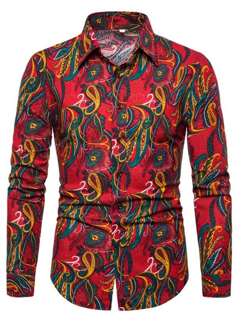 Ericdress Lapel Fashion Print Mens Single-Breasted Slim Shirt