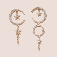 Rhinestone Star & Moon Decor Earrings