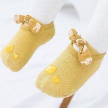 1 Paar Baby Non-slip Socken mit Schleife Detail