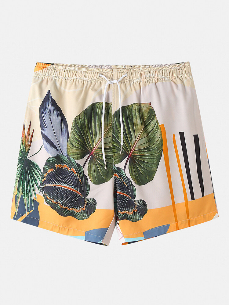 Mens Leaf Print Holiday Casual Loose Drawstring Waist Shorts