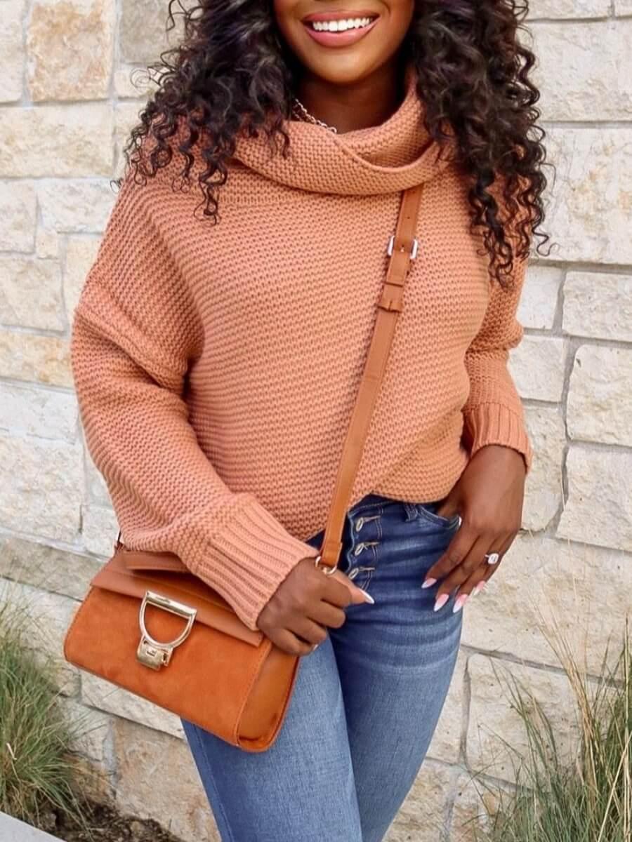 LW Lovely Stylish Turtleneck Dropped Shoulder Long Sleeve Khaki Sweater