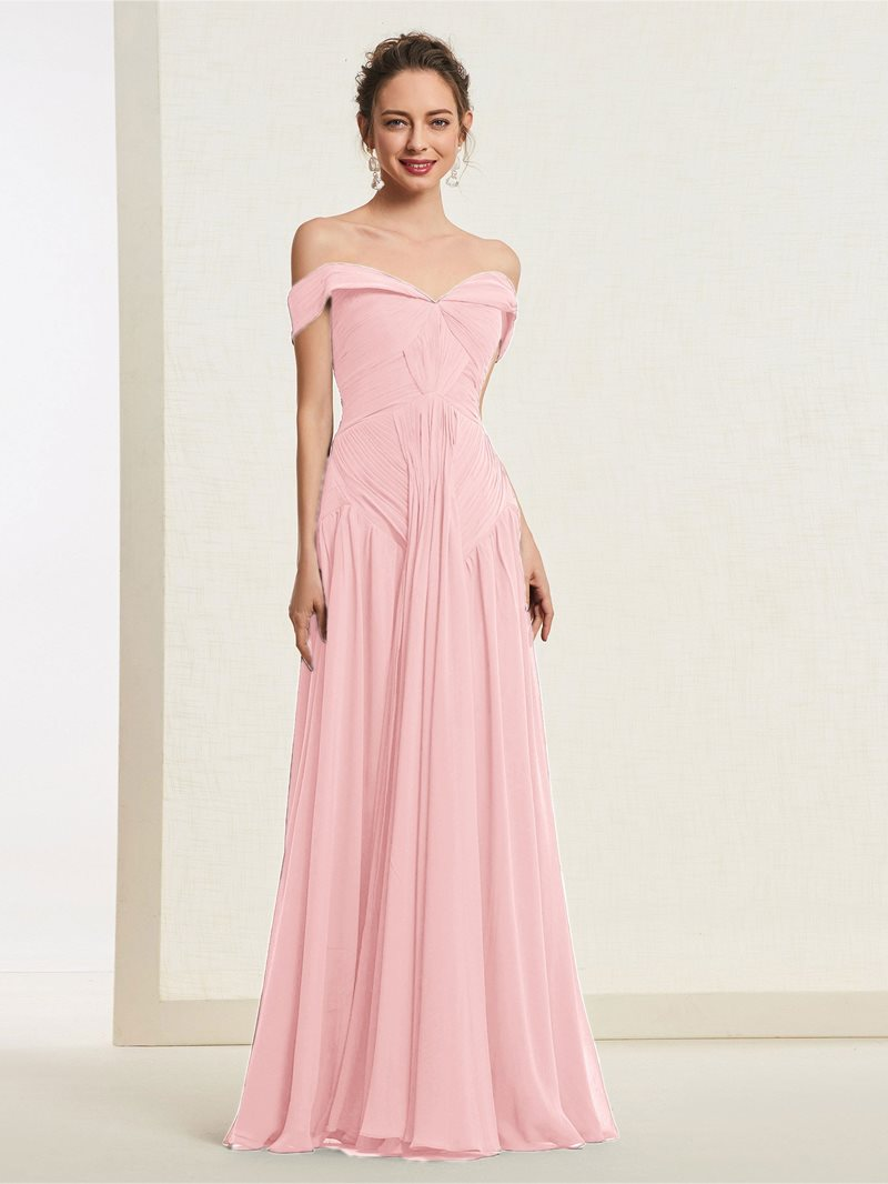 Ericdress Off-The-Shoulder Pleats A-Line Prom Dress