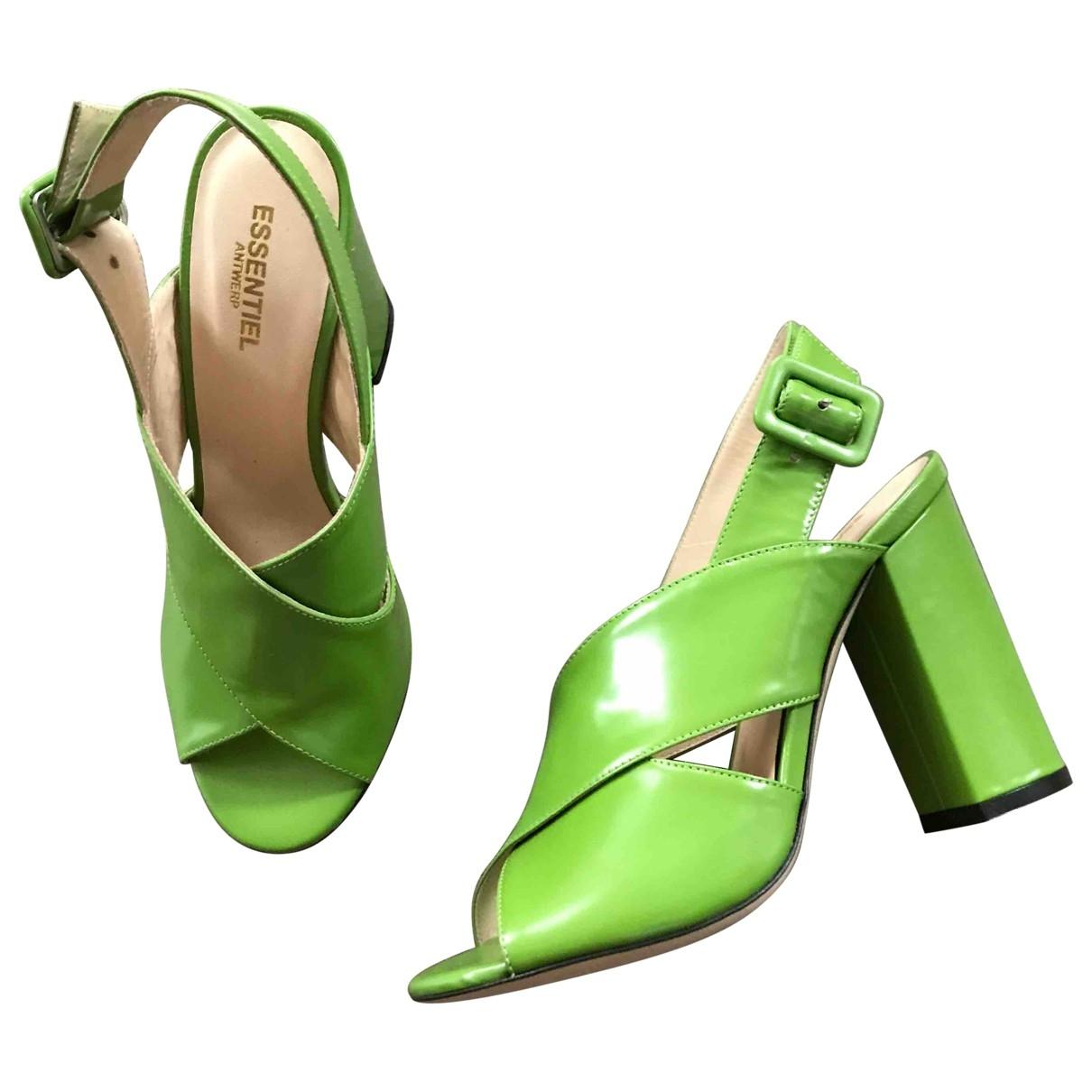 Essentiel Antwerp - Sandales   pour femme en cuir - vert